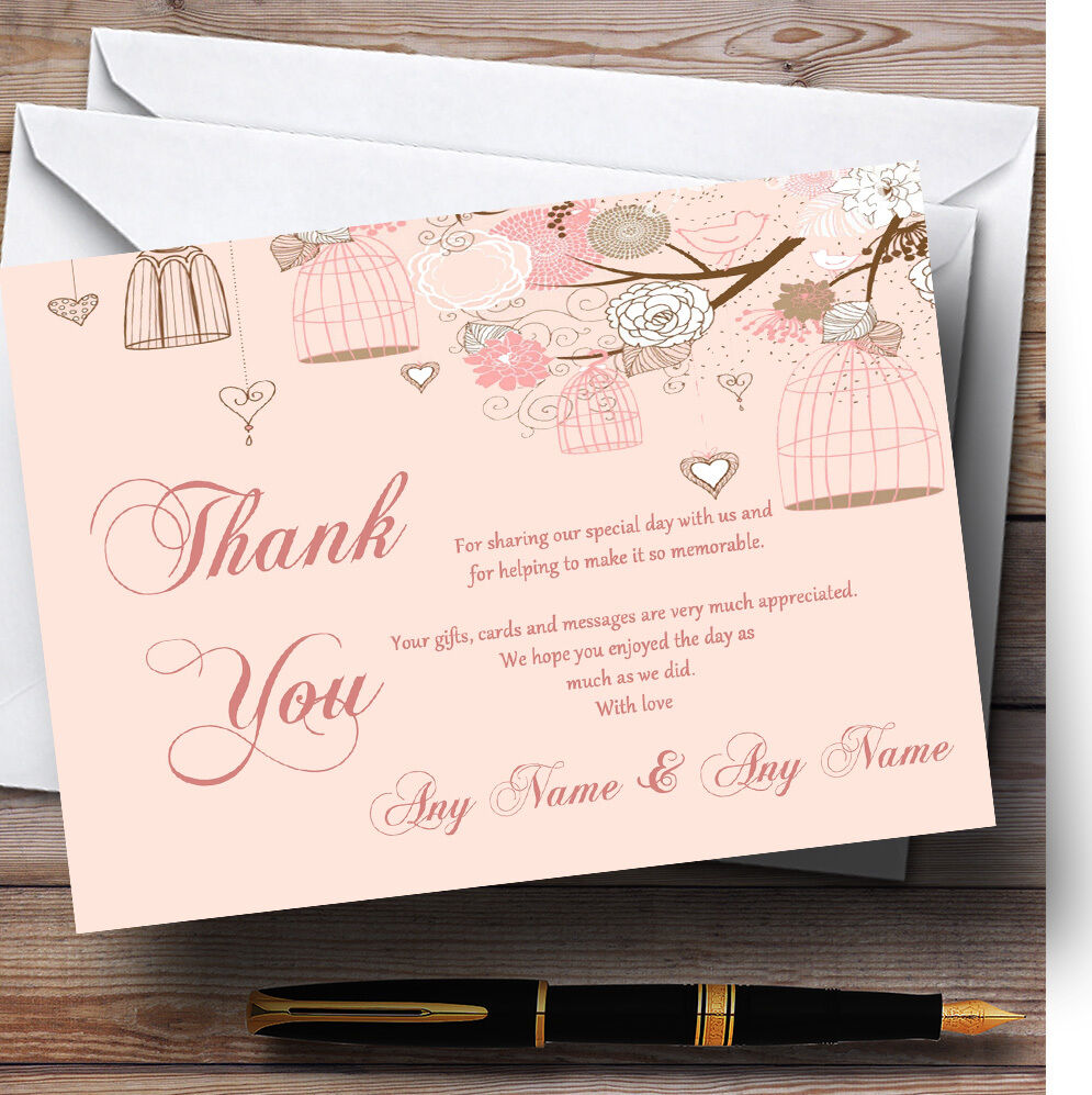 Coral Peach Vintage Birdcage Personalised Wedding Thank You Cards