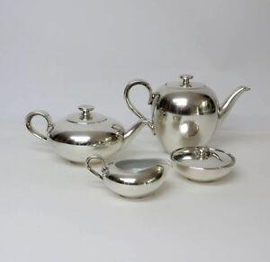ART-DECO-Elegantes-versilbertes-4tlg-Kaffee-Teeservice-WMF-Porzellan-Heinrich