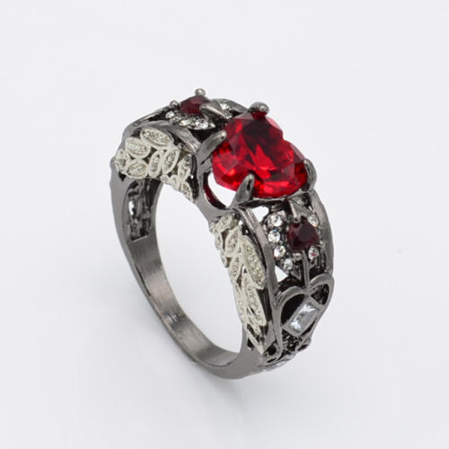Elegant Ruby Heart Wedding Engagement Geometry Ring For Womens Jewelry Gift