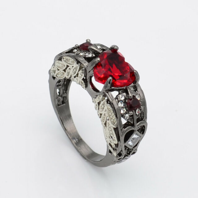 Red Ruby Black Gold Heart Angel Wings Ring Wedding Jewelry Gifts Size 6 7 8 9 10