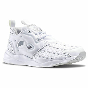d10eae85731 Image is loading Reebok-furylite-new-woven-white-monochrome-sneakers-womens-