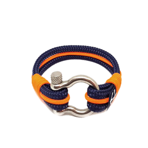 Nautical-Rope-Bracelet-Sailing-Mens-Womens-Handmade-Summer-bracelet-BLUE-ORANGE