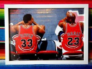Framed-MICHAEL-JORDAN-amp-SCOTTIE-PIPPEN-Chicago-Bulls-NBA-Poster-45-x-32-x-3cm