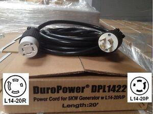 Generator Power Cord - L14-20 Extension Cord DPL1422 - 20 Foot, 20 Amps 125/250V
