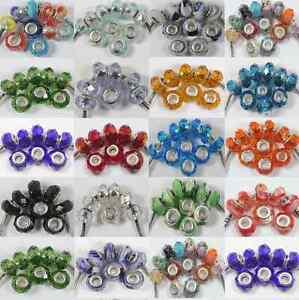 10Pcs-Glass-Murano-Big-Hole-Lampwork-Spacer-Beads-Fit-European-Bracelet-14x9mm