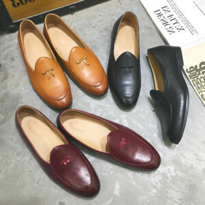 Slip-on-Belgian-Dress-Shoes-Mens-Leather-Flats-Bowtie-Loafers-Driving-Oxfords-SZ