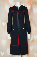 VTG 60s MOD Navy *MILITARY CHIC* Wool SPACE AGE Go-Go Scooter MIDI DRESS S-M