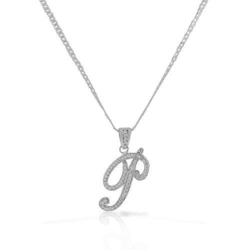 Letter P Cursive Initial CZ Pendant .925 Sterling Silver