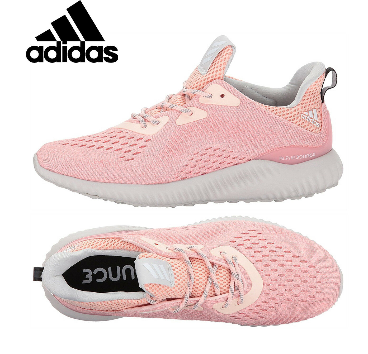 Womens ADIDAS ALPHABOUNCE EM Sneakers Womens Running Shoes Pink Sneakers EM BW1195 NEW efc796