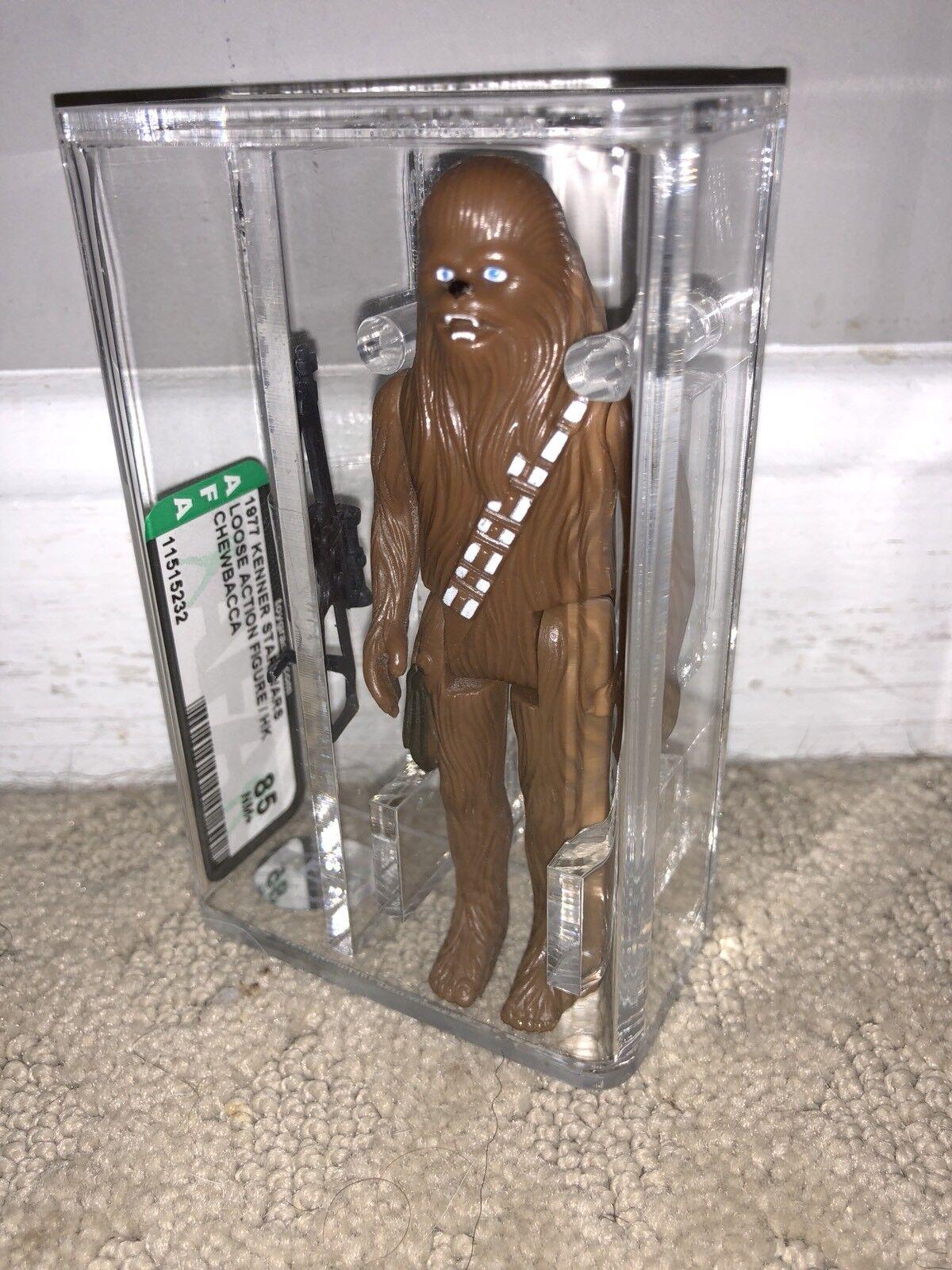Autoridad Figura de Acción 85 Figura De Estrella Wars 1977 Suelto Chewbacca hecho en Hong Kong Kenner Casi Nuevo +