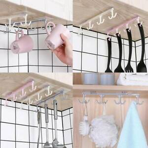 4-Hooks-Self-Adhesive-Kitchen-Cup-Holder-Firm-Hang-Storage-Rack-Organiser-Hook-L