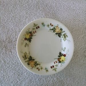 Royal Kent Salad Plates Fruit Pears Apples and Cherries Vines White Set of 7