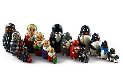 Lot 4 Matryoshka Russian Nesting Dolls Babushka Matroeska Babooshka Poupee 5 Pcs