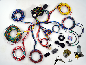 Universal 21 Circuit Wiring Harness For CHEVY MOPAR FORD JEEP ... on jeep exhaust leak, jeep bracket, jeep gas sending unit, jeep exhaust gasket, jeep electrical harness, jeep sport emblem, jeep wire connectors, jeep knock sensor, jeep relay wiring, jeep wiring connectors, jeep tach, jeep key switch, jeep vacuum advance, jeep visor clip, jeep condensor, jeep carrier bearing, jeep intake gasket, jeep seat belt harness, jeep wiring diagram, jeep engine harness,