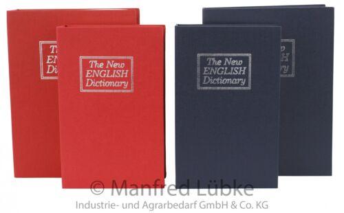 Buchsafe Safe Geldkassette Tresor Buch Versteck Buchatrappe Urlaub rot blau