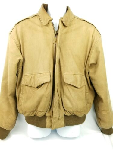 Mens Leather Bomber Jacket Size Large Internationa