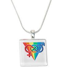 Rainbow Pride LGBT Square Glass Pendant w/ Chain Necklace. GLBT Jewelry
