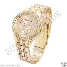 Womens Fashion Geneva Crystal Bracelet Wrist Watch Gold Designer Style
