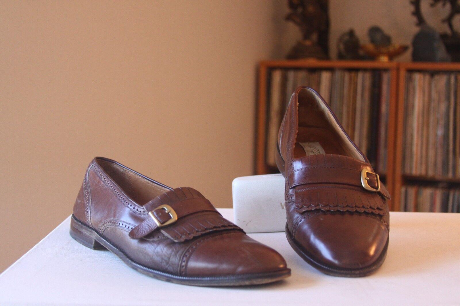 Mezlan BOLONIA en cuir marron Kiltie Moine Bracelet Mocassins Chaussures Homme Taille 10.5 m