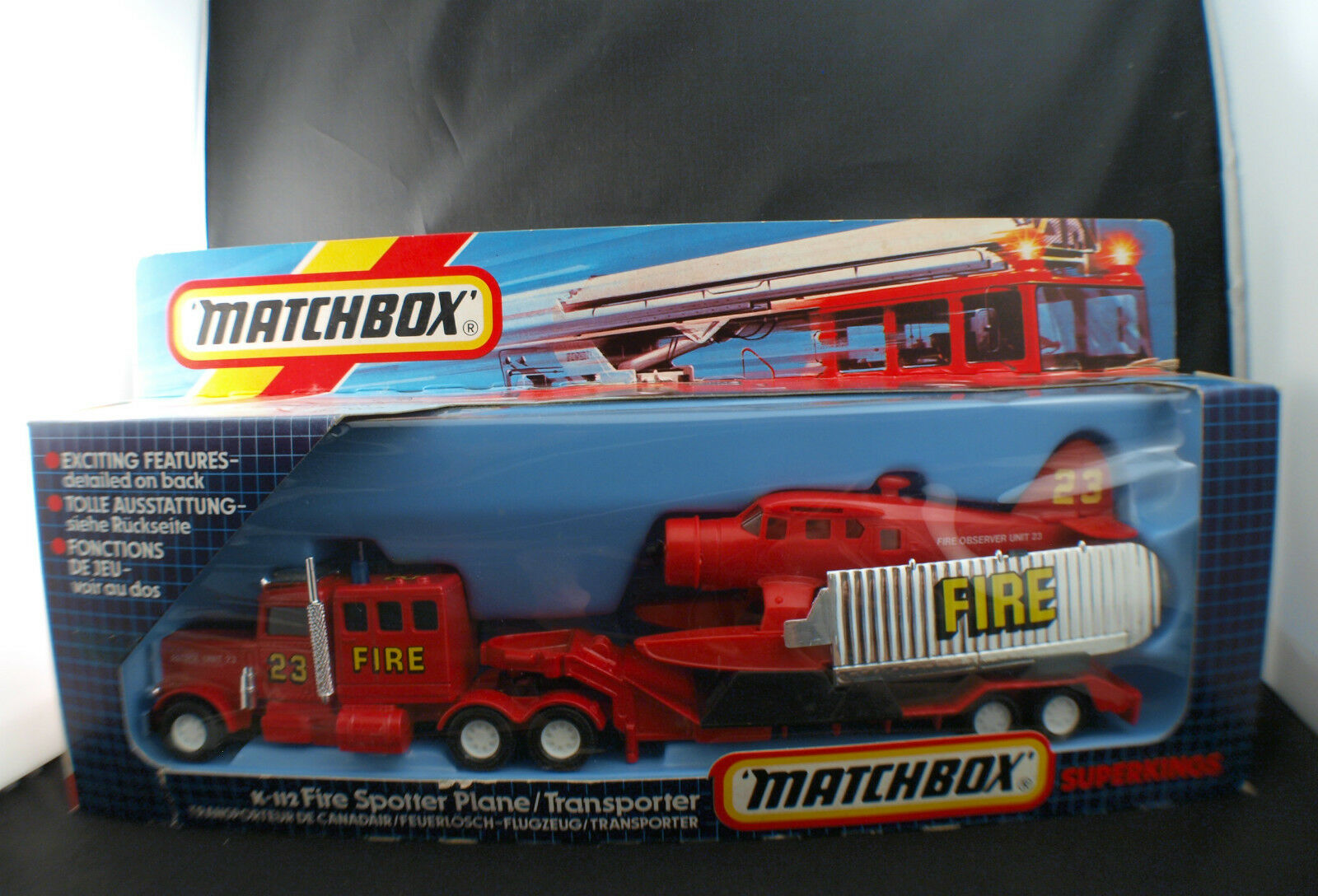 Matchbox K-112 Fire Spotter pompier Plane transporter pompier Spotter porte avion neuf mint 5732a3