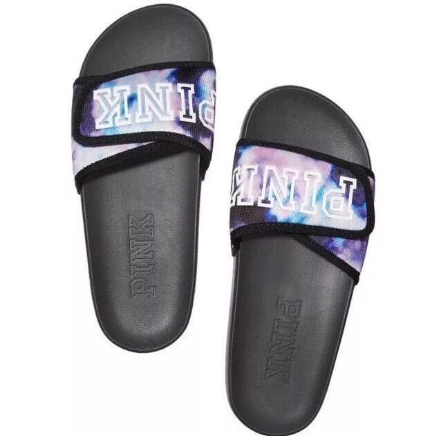 VS Victorias Secret Pink Crossover Comfort Slide Sandale Flip Flop Tie Dye M 7/8