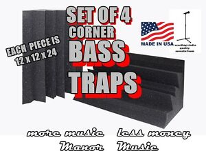 SET-of-4-Corner-Bass-Trap-Acoustical-recording-Studio-Foam-Absorbers-diffusers