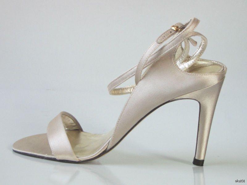 new 395 DELMAN satin strappy Sandale PUMPS heels schuhe 6.5 - BEIGE NUDE dressy