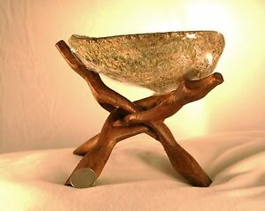 8-Inch-WOOD-COBRA-DIsplay-STAND-for-Abalone-Shell-Sage-Tripod-Stand