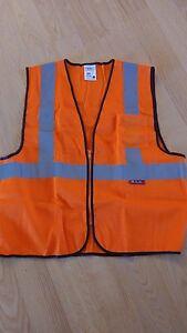 Lot of 10x Class 2 MGB Reflective Safety Vest 1 Pocket Orange NEW XXL