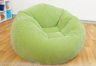 Intex Inflatable Beanless Bean Bag Chair Lime Green Flocked Top Vinyl Bottom