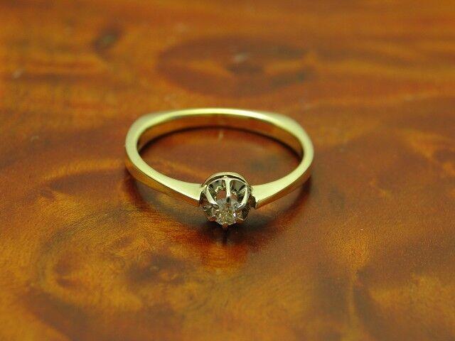 14kt 585 bicolor gold Ring mit 0,10ct Brillant Solitär Besatz   Diamant   RG 55
