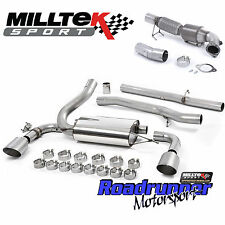 """Milltek Focus RS MK3 Turbo Back Exhaust & Sports Cat Downpipe 3"""" Non Res Ti Tips"""