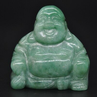 """1.4/"""" Feng Shui Laughing Happy Buddha Figurine Unakite Stone Crystal Carving Gift"""