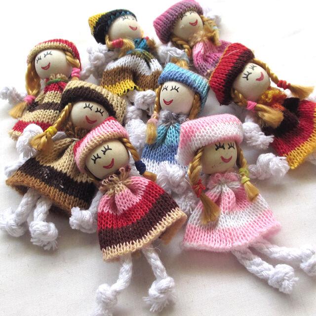 8/24PCS Girl Doll Crochet Appliques Wedding Decor Craft Mix