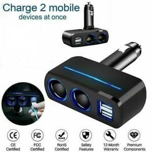 12V-Car-Cigarette-Lighter-Socket-Splitter-Phone-2-Way-USB-Charger-Adapter-Plug