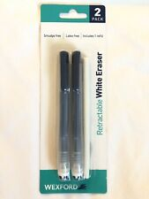 New Listingwexford Clic Retractable White Eraser Refillable Blue Smudge Free Latex Free