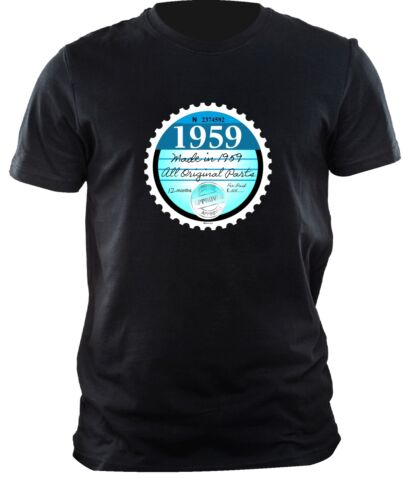 Funny Born in 1959 TAX DISC Motif for Birthday Anniversary mens t-shirt tshirt