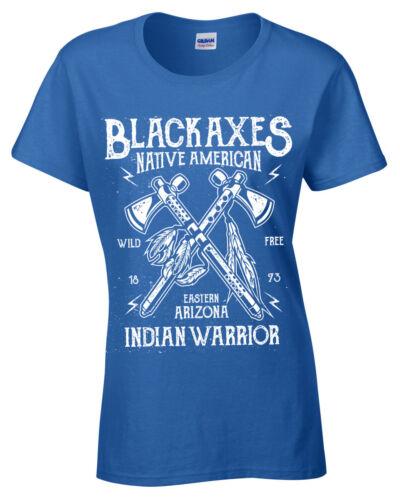 Schwarz Achsen T-Shirt Damen S-5XL Retro Native Warrior Arizona USA Damen
