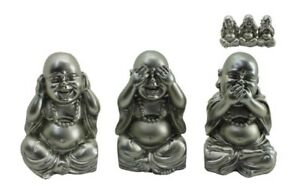 Set-of-3-Wise-Buddha-Silver-10cm-Hear-See-Speak-No-Evil-Monk-Figurines-Ornaments