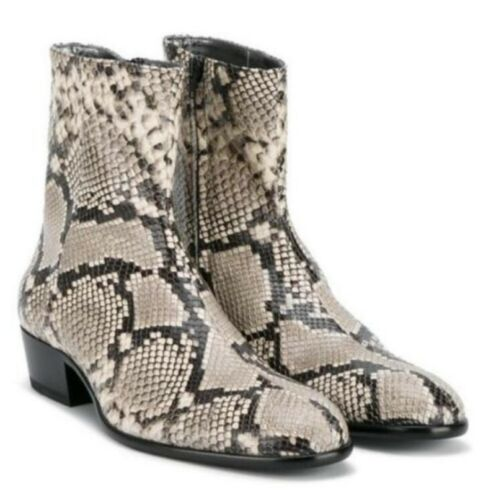 Men Chelsea Snakeskin Pattern Formal Dress Real Leather Ankle Boots Europe Style