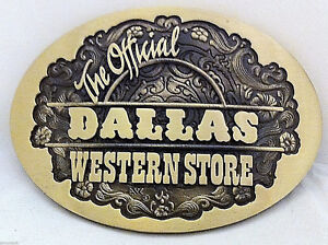 Very-Rare-034-The-Official-Dallas-Western-Store-034-Belt-Buckle-Solid-Brass-Hand-Carved