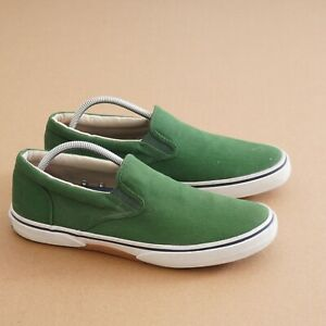 Sperry Top Sider Mens Halyard Slip On Sneakers Size 10 M Green Canvas STS12356