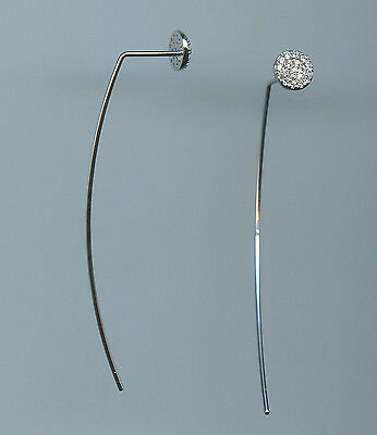 925 STERLING SILVER & PAVE CZ STUD THREADER DANGLE EARRINGS