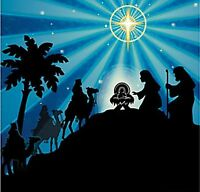 Large Silhouette Nativity Plastic Backdrop Mural Religious Christmas Party Decor