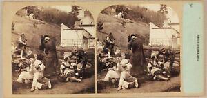 Francia Arlequinades Artistico Foto Po' di Tempo Stereo Vintage Albumina Ca 1858