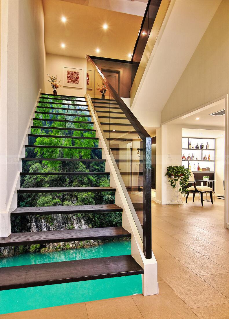 3D Tree lake 35 Stair Risers Decoration Photo Mural Vinyl Decal Wallpaper UK