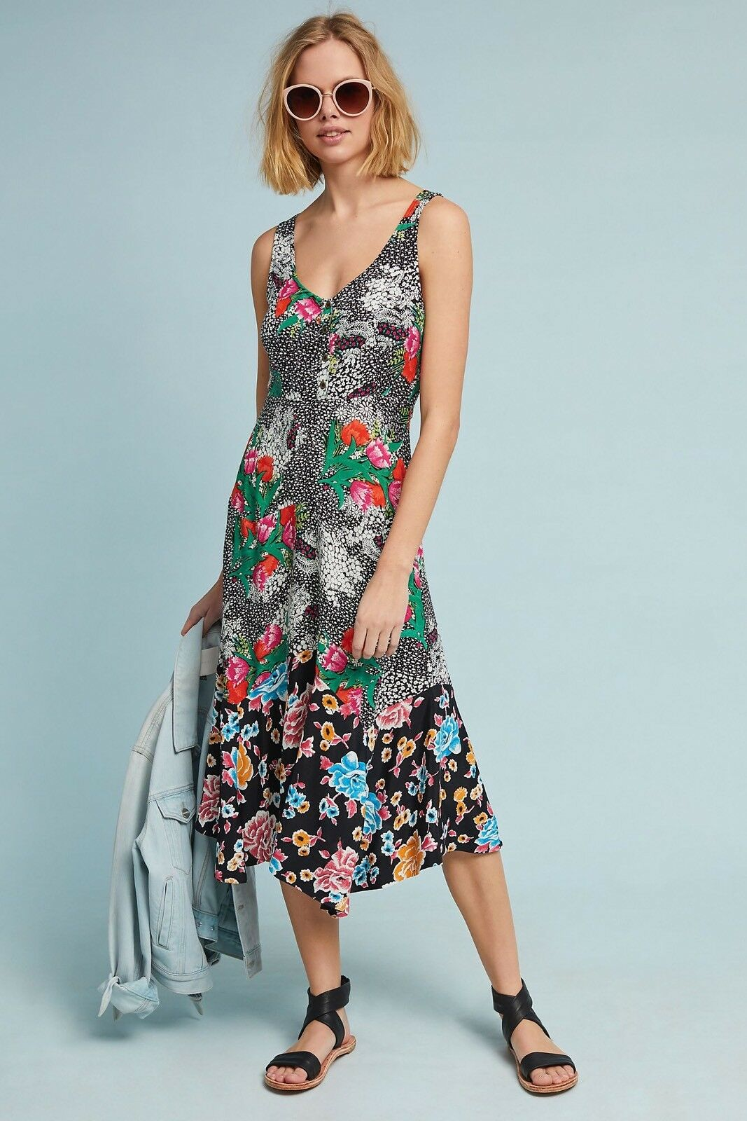 NWT ANTHROPOLOGIE lilate Midi Dress By Maeve Rosa Motif Größe 6