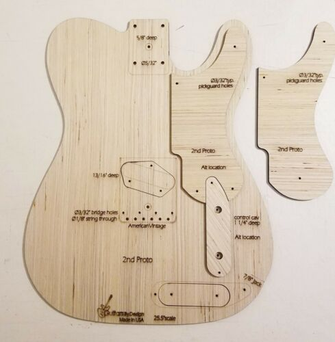 Snakehead 2nd Prototype T Guitar Body Template 4Tele Neck 3ply 49 51