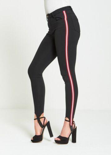NUOVA linea donna donna nero a righe laterali Skinny Slim Fit Skinny Denim Jeans Jeggings
