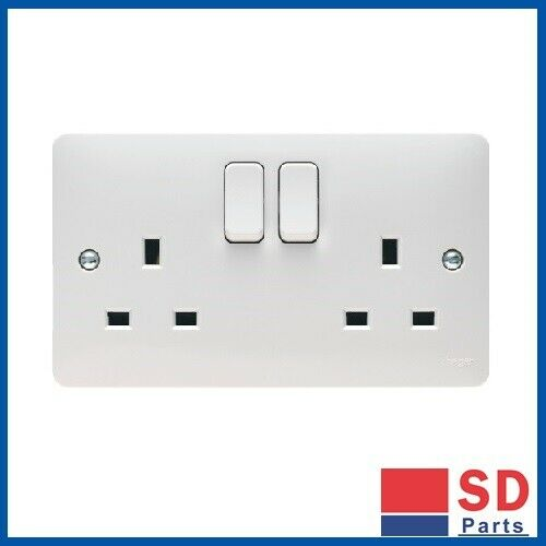 BRAND NEW Free Postage Hager Sollysta Switched Socket 2 Gang White x2